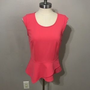 Ann Taylor top XSmall solid pink peplum blouse